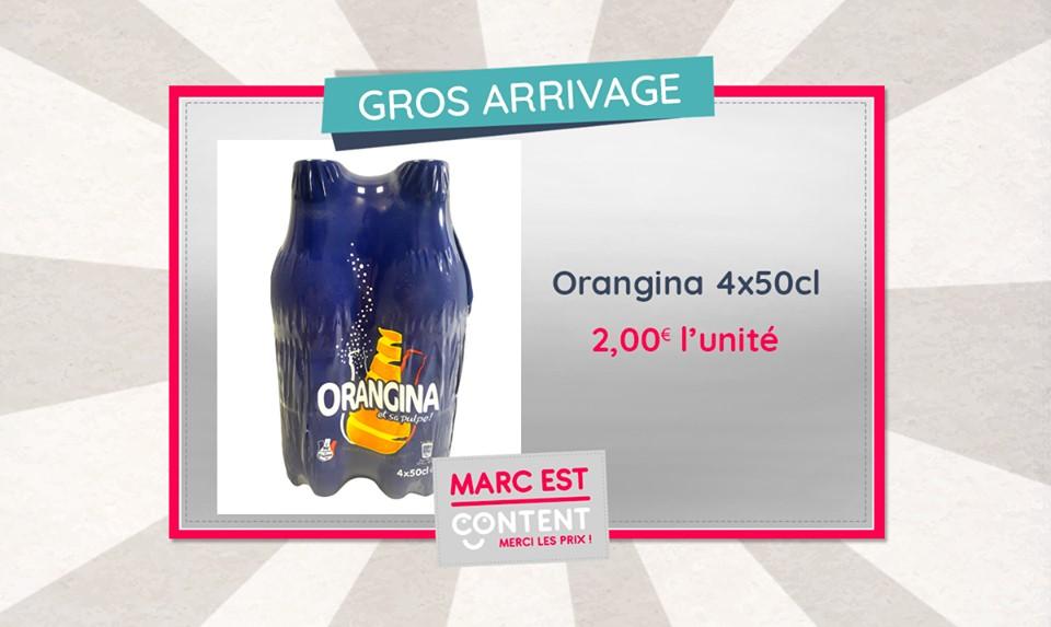 Pétillant et rafraichissant ! Profitez de cette offre, 4 bouteilles d'Orangina 50cl pour seulement 2€